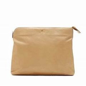 Luca carryall leather pouch, nude color